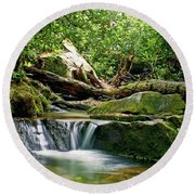 Round Beach Towel featuring the photograph Sims Creek Waterfall by Meta Gatschenberger