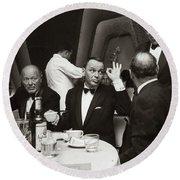 Sinatra And Ed Sullivan At The Eden Roc - Miami - 1964 Round Beach Towel