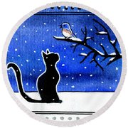 Sing For Me - Black Cat Card Round Beach Towel