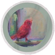 Round Beach Towel featuring the painting Sing Little Bird by Mary Wolf