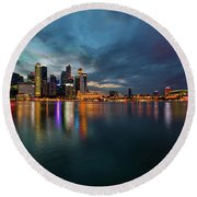 Singapore City Skyline At Evening Twilight Round Beach Towel