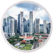 Singapore Cityscape Round Beach Towel