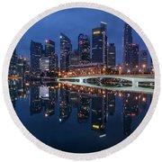 Singapore Skyline Reflection Round Beach Towel
