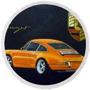 Round Beach Towel featuring the painting Singer Porsche by Richard Le Page