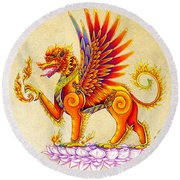 Singha Winged Lion Round Beach Towel
