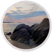 Singing Beach Rocky Sunrise Manchester By The Sea Ma Round Beach Towel