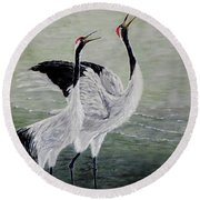 Singing Cranes Round Beach Towel by Judy Kirouac