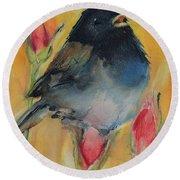 Round Beach Towel featuring the painting Singing Junco by Jani Freimann