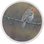 Round Beach Towel featuring the painting Singing Robin by Alan M Hunt