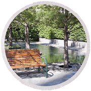 Single Bench Round Beach Towel by Ricky Dean