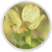 Round Beach Towel featuring the digital art Single Dogwood Blossom In Evening Light by Lois Bryan
