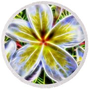 Single Fractal Frangipani Round Beach Towel
