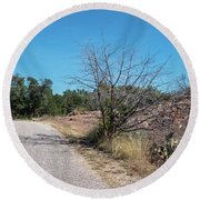 Single Lane Road In The Hill Country Round Beach Towel