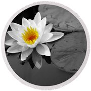 Single Lily Round Beach Towel
