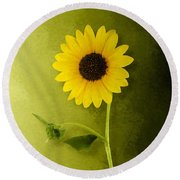 Single Long Stem Sunflower Round Beach Towel