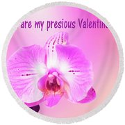 Round Beach Towel featuring the photograph Single Orchid Valentine by Linda Phelps