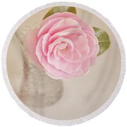 Round Beach Towel featuring the photograph Single Pink Camelia Flower In Clear Vase by Lyn Randle
