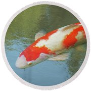 Single Red And White Koi Round Beach Towel by Gill Billington