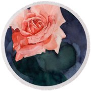Watercolor Of A Magic Bright Single Red Rose Round Beach Towel