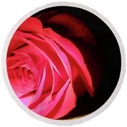 Single Rose  Round Beach Towel