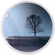 Single Tree In Moonlight Round Beach Towel