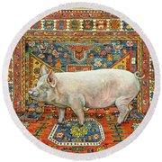 Singleton Carpet Pig Round Beach Towel by Ditz