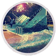 Sinking Into The Pool Round Beach Towel