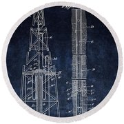 Sinking Oil Well Patent Round Beach Towel