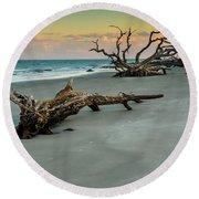 Sunset On Jekyll Island Round Beach Towel