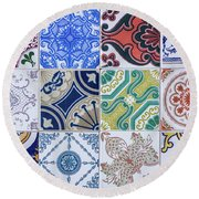 Round Beach Towel featuring the photograph Sintra Tiles by Carlos Caetano
