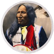 Sioux Chief Portrait Round Beach Towel