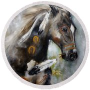 Sioux War Pony Round Beach Towel by Barbie Batson
