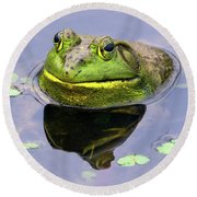 Sir Bull Frog Round Beach Towel