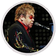Sir Elton John At The Piano Round Beach Towel