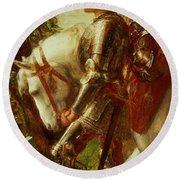 Sir Galahad Round Beach Towel by George Frederic Watts