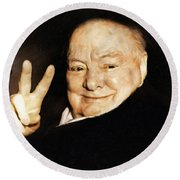 Sir Winston Churchill Victory Round Beach Towel