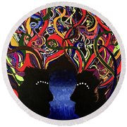 Sis The Twins - Abstract Silhouette Painting - Sisterhood - Abstract Painting  Round Beach Towel