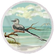 Sissor Tailed Flycatcher Round Beach Towel by Anne Beverley-Stamps