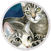 Sissy And Lily - Cat Painting Round Beach Towel