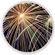 Sister Bay Fireworks Round Beach Towel