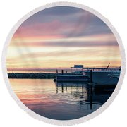 Sister Bay Marina At Sunset Round Beach Towel