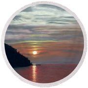 Sister Bay Sunset Round Beach Towel