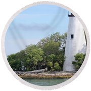 Sister Island Lighthouse Round Beach Towel