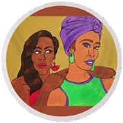 Sister Stuff Round Beach Towel by Autumn Leaves Art