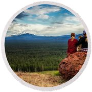 Round Beach Towel featuring the photograph Sisters by Cat Connor