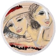 Round Beach Towel featuring the digital art Sisters by Elaine Lanoue