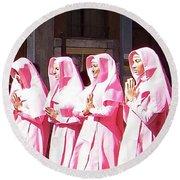 Sisters In Pink Round Beach Towel