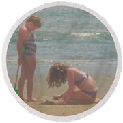 Sisters In The Sand Round Beach Towel