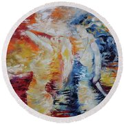 Round Beach Towel featuring the painting Sisters by Marat Essex