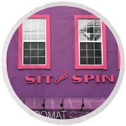 Round Beach Towel featuring the mixed media Sit And Spin Laundromat Purple- By Linda Woods by Linda Woods